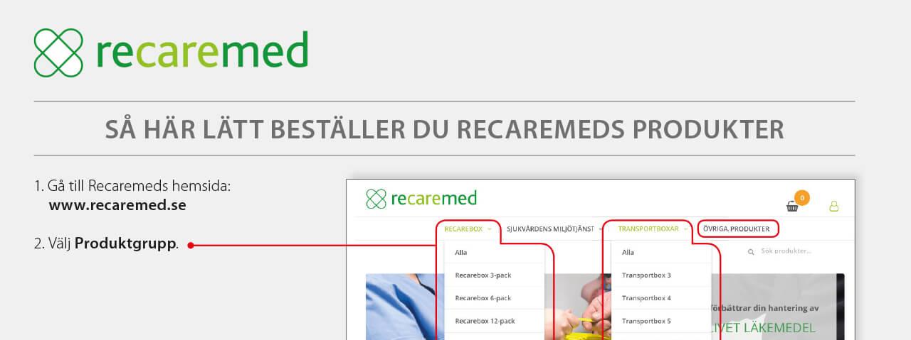 Istruktion för hur man gör en beställning på Recaremeds sida