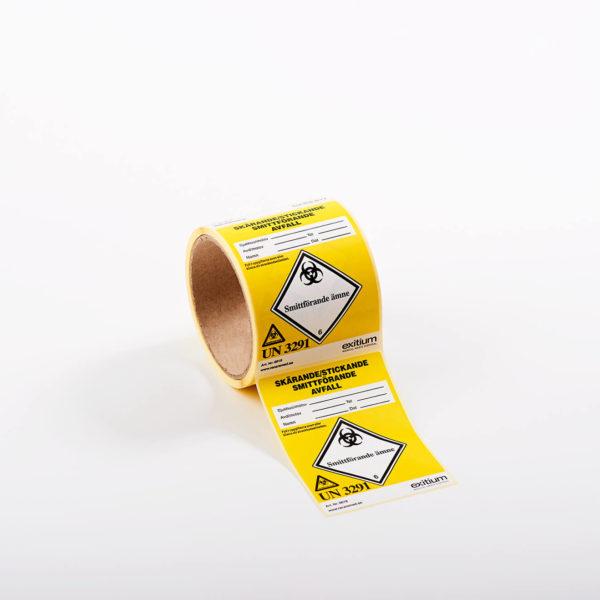Etikett skärande-, stickande-, och smittförande avfall, liten