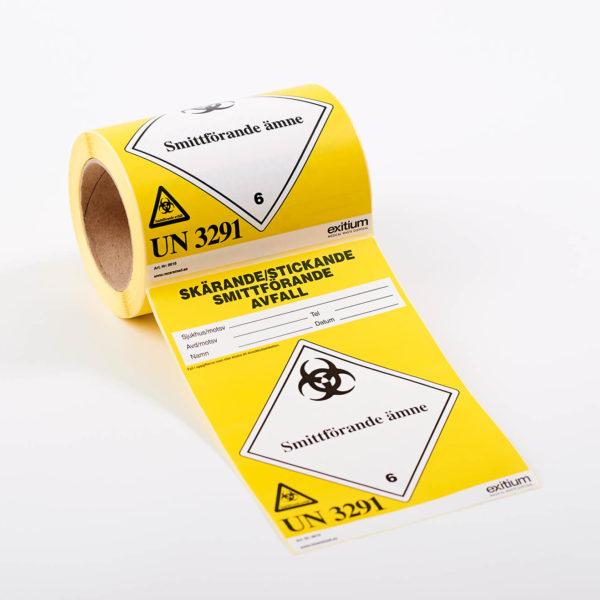 Etikett skärande-, stickande-, och smittförande avfall, stor