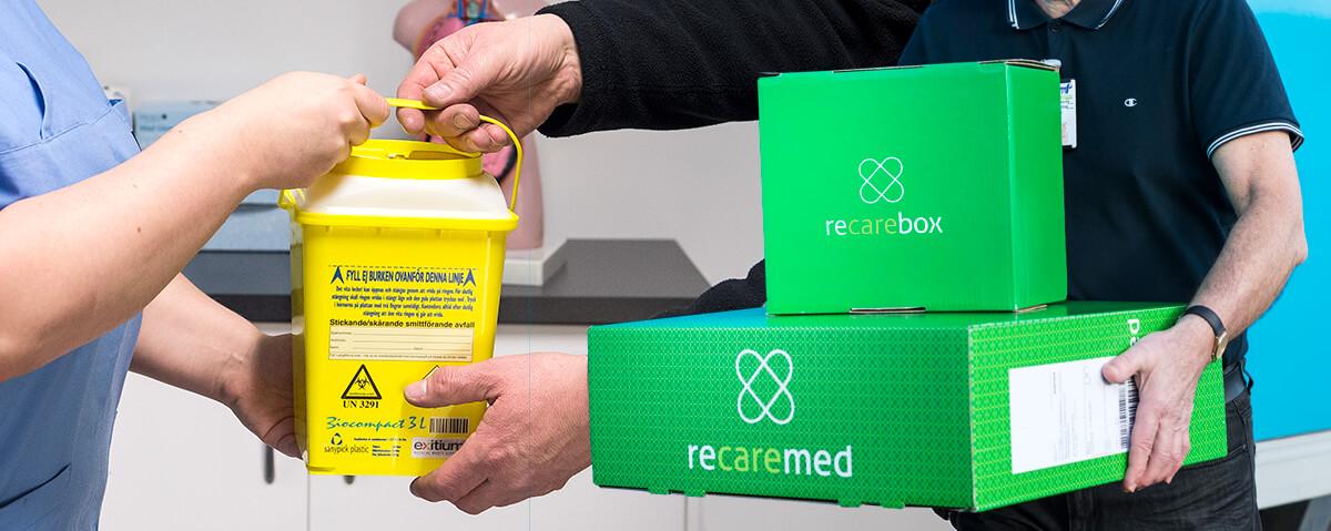 Ihopsatt miljöbild med kanylburtk och leverans av Recarebox från Recaremed